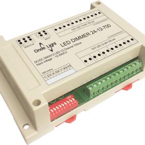 LED DIMMER 24-12-700 контроллер с токовым выходом 700мА 12 выходных каналов. Управление DMX512, встроенные программы. Корпус на DIN рейку.