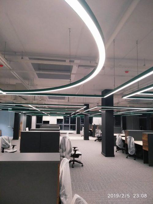 Линейный светодиодный светильник, подвесной, LED светильник, линия света, ретейл светилник, торговый светилник, светильник для офиса, офисный светильник, линейный, профиль, алюминевый профиль, освещение торговых площадей, освещение склада, подсветка магазина, Ondelight, Ondeline
